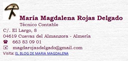 tarjeta de visita de María Magdalena Rojas Delgado